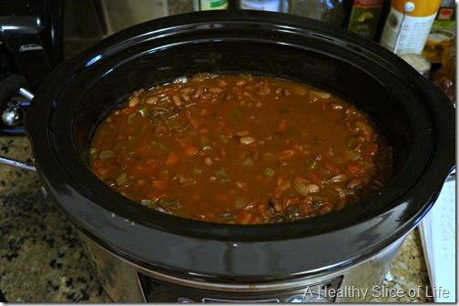 crockpot black bean soup- after simmering