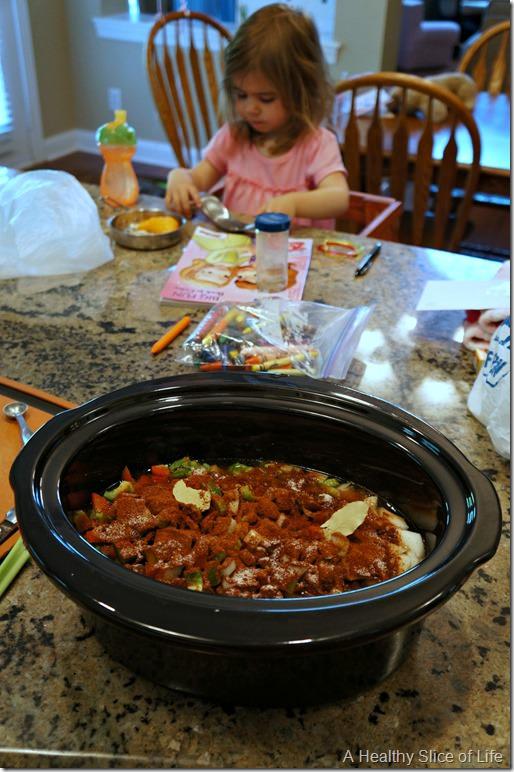 crockpot black bean soup- toddler help