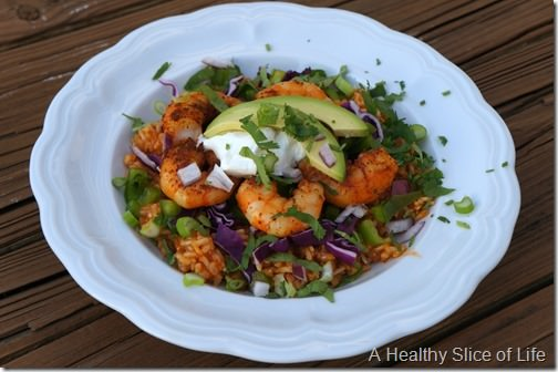 layered fiesta bowl with shrimp