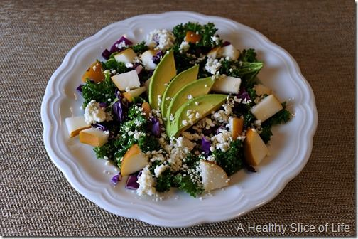 massaged kale salad with pear and blue cheese