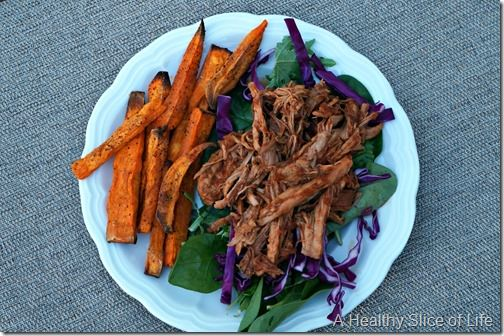 pulled pork bbq and roasted sweet potato fries