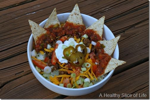 beef and lentil taco salads