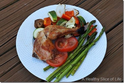 beer can chicken and veggies