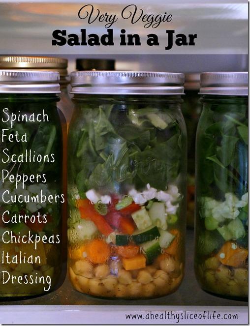 food prep- salad in a jar- very veggie