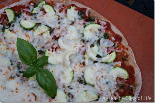 zucchini and pesto whole wheat pizza