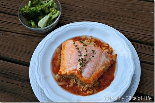braised steelhead trout with broccoli