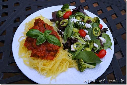spaghetti squash and meat sauce