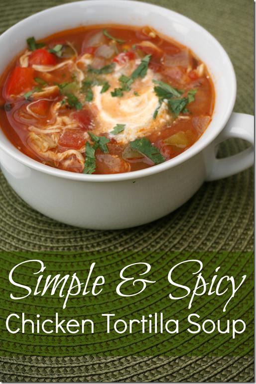 simple and spicy chicken tortilla soup