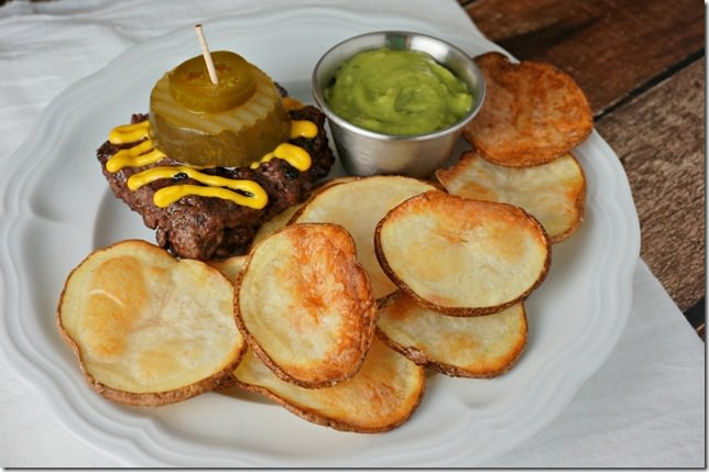 burger and oven chips