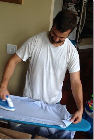 husband ironing
