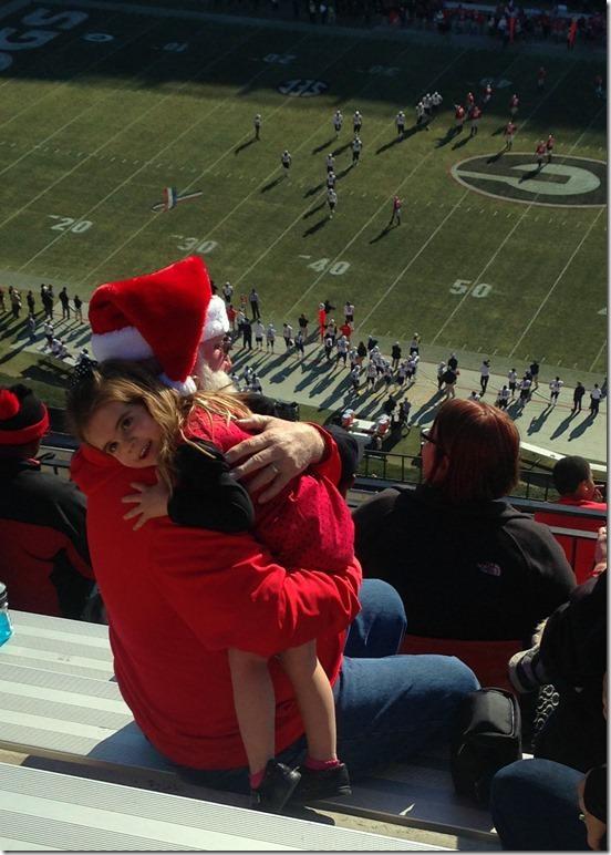 hailey and santa at the game
