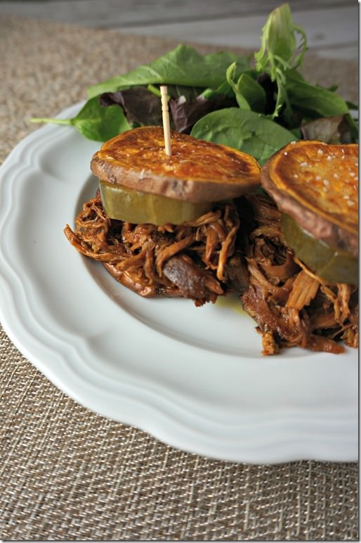 paleo challenge- pulled pork BBQ with sweet potato buns
