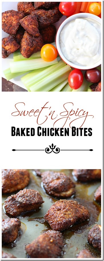 sweet and spicy baked chicken bites-  a healthy chicken popper option for super bowl while still satisfying the spice lover