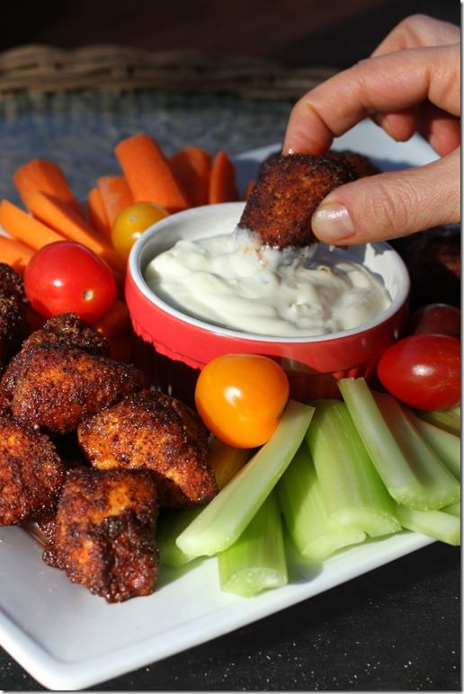sweet and spicy baked chicken bites- dipped