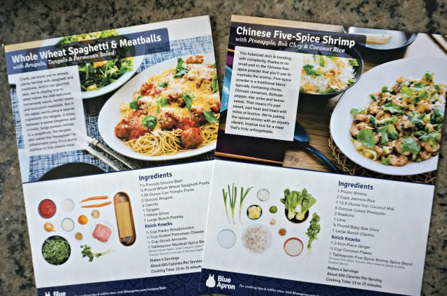 Blue Apron Menu Cards