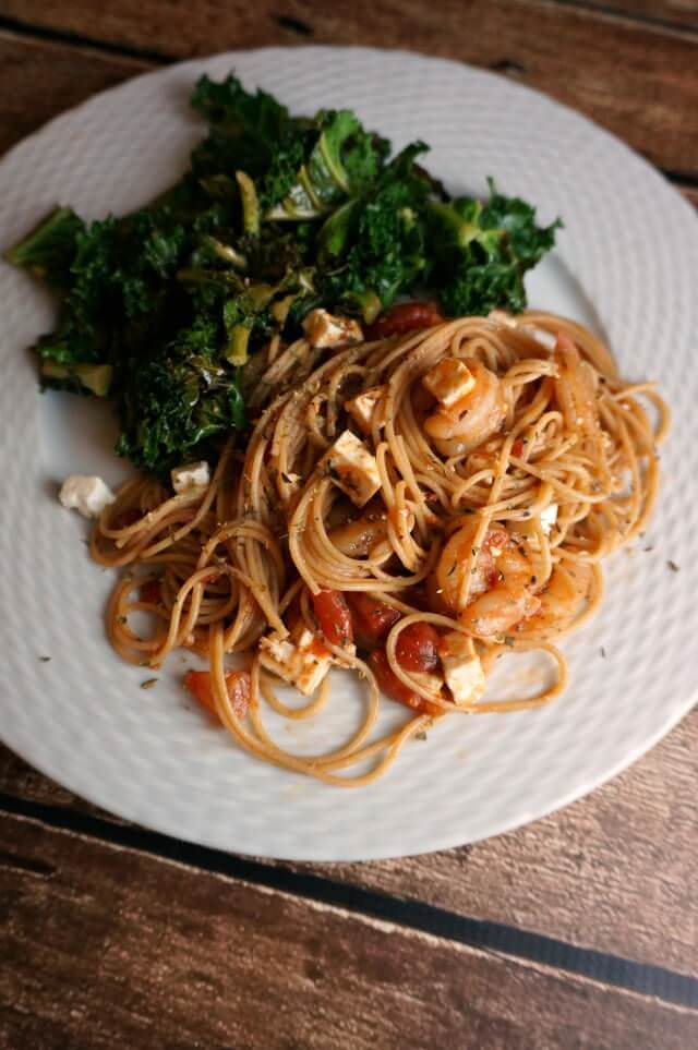 Greek shrimp pasta