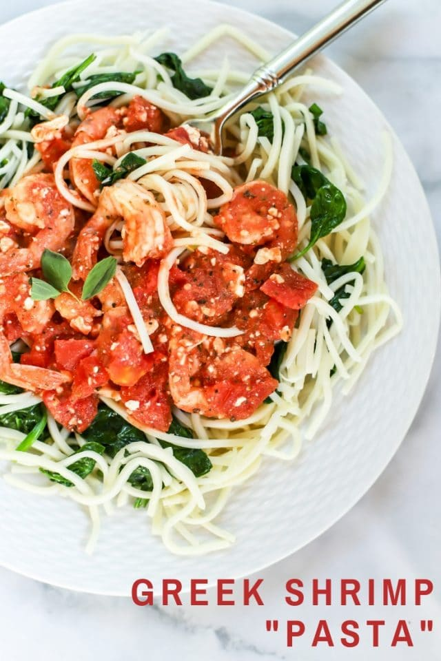 Greek shrimp pasta with feta over Palmini