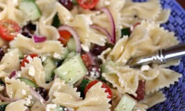 simple greek pasta salad- close up