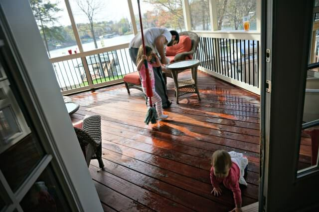 cleaning the porch