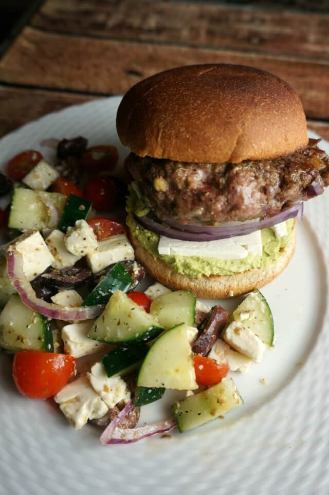 gyro burger and Greek salad