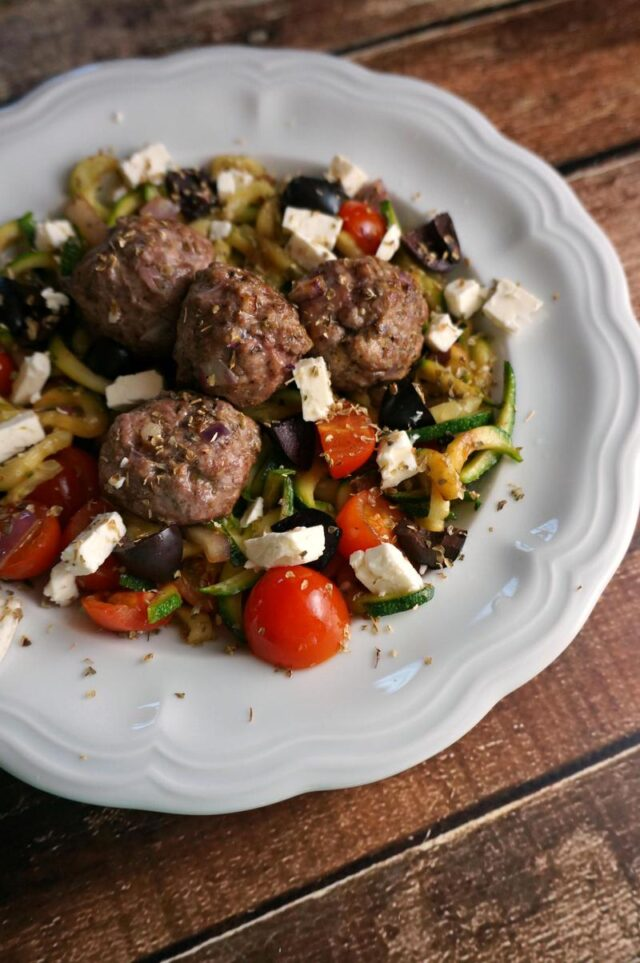 lamb gyroballs over zoodles with feta