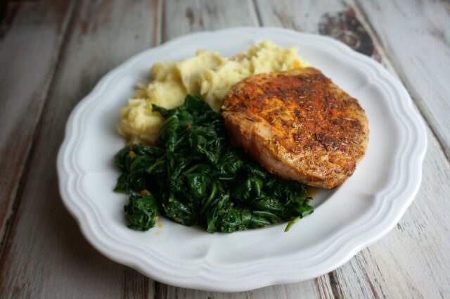 blue apron- spiced pork chops