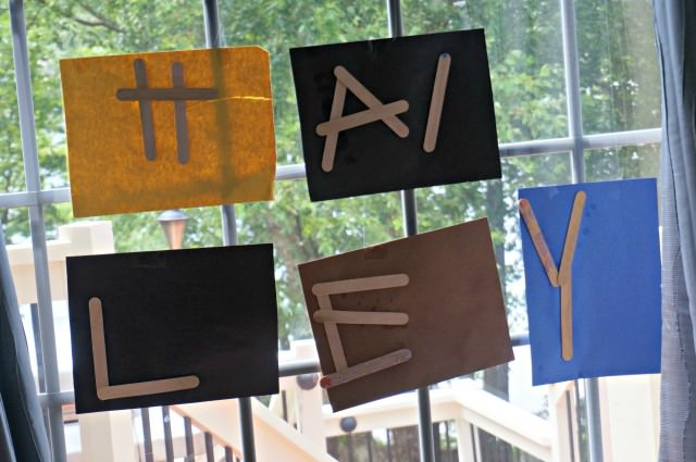Homeschool Preschool Activity- popsicle stick letters