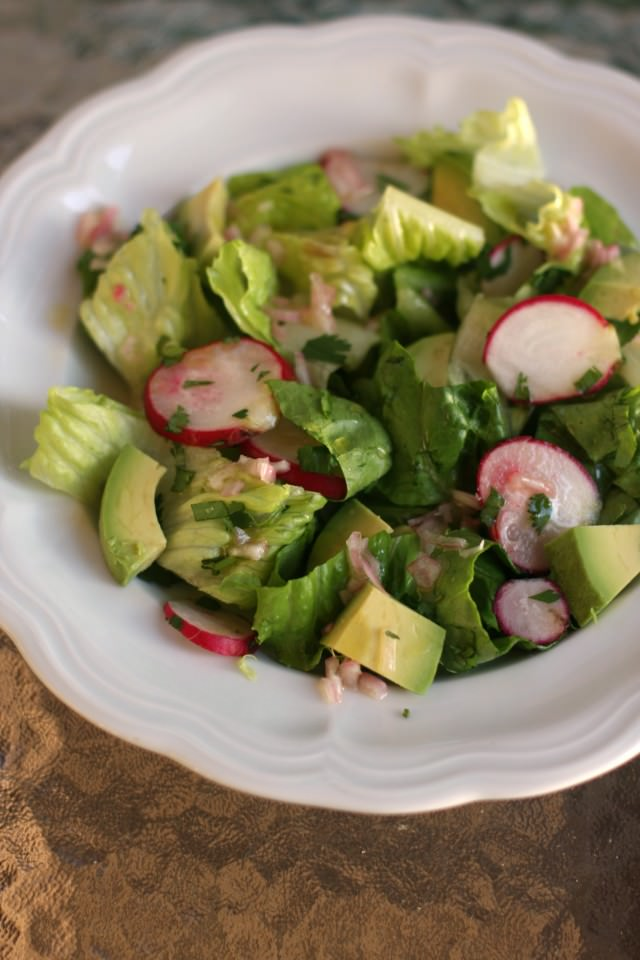 spring radish salad with avocado and shallot vinaigrette