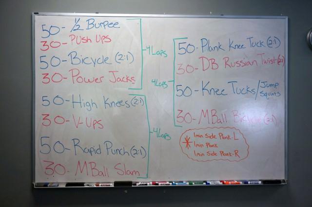 burn bootcamp white board workout