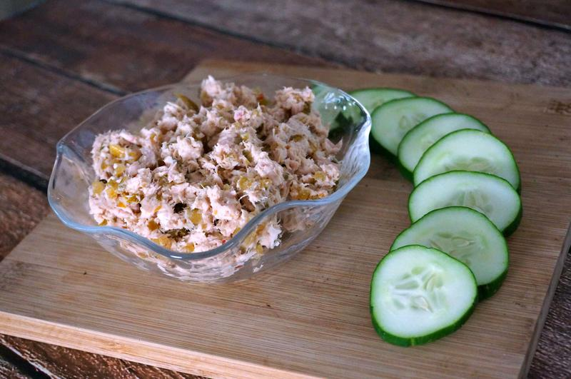 ... easy way to put tuna fish salad on her plate in under three minutes