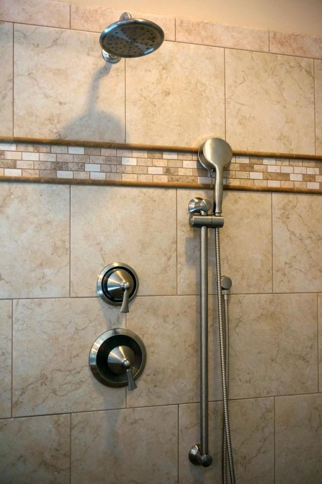 master bath renovation- after- 5 moean shower fixtures wynford