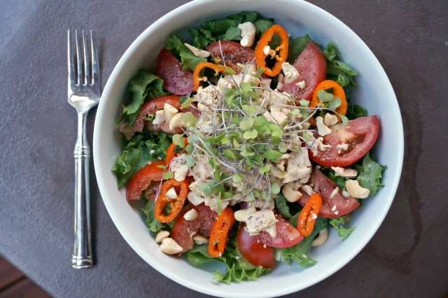 tuna salad with microgreens