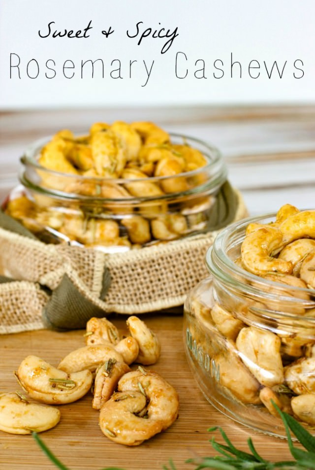 sweet and spicy rosemary cashews- for gatherings or gifts