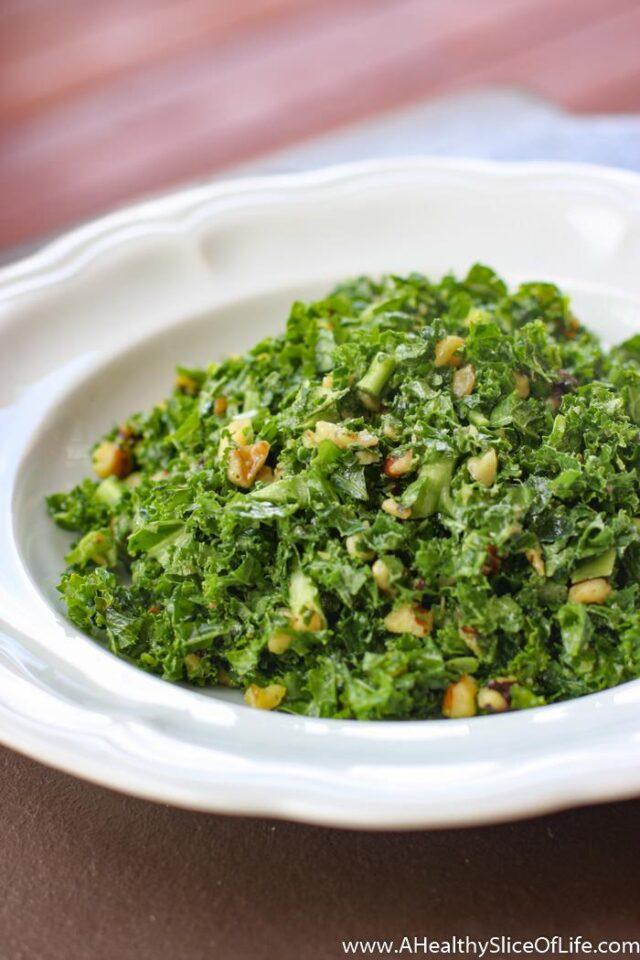 Simple Kale Salad with a Walnut Vinaigrette | A Healthy ...
