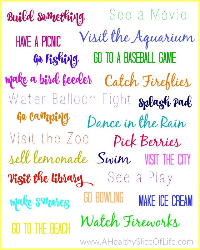 summer bucket list- four years old and two years old