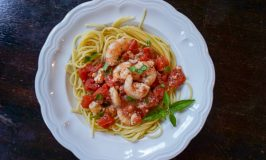 Greek Shrimp Pasta with Tomatoes and Feta