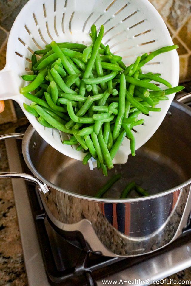 draining green beans
