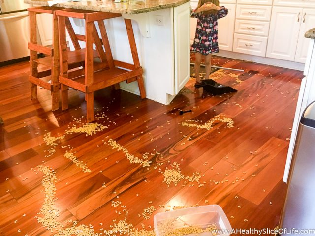 toddler pasta mess