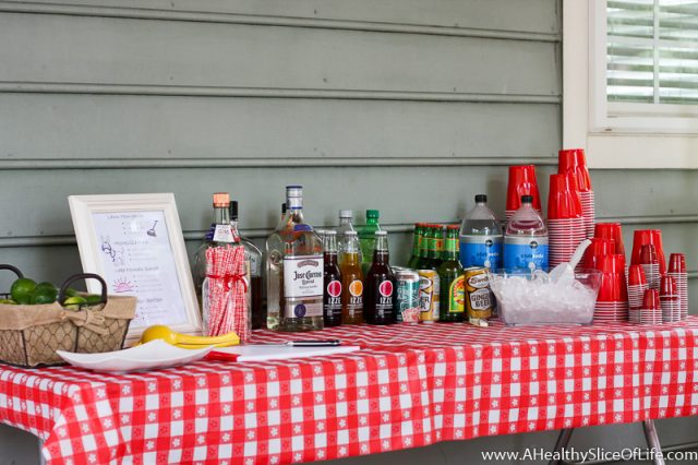backyard cookout bar set up