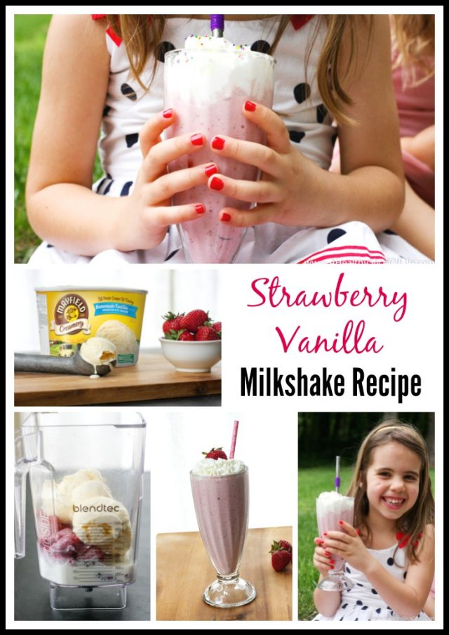 strawberry vanilla milkshake collage