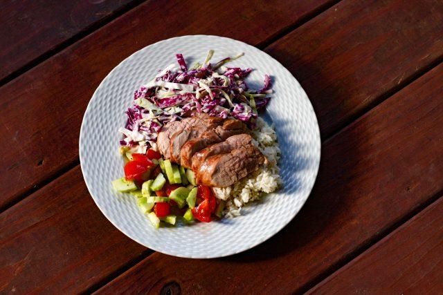pork tenderloin and vegetables