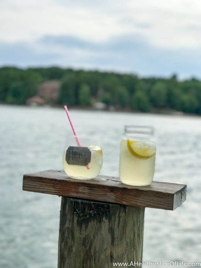 cocktails by lake