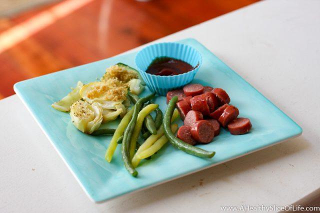 hot dog and veggies