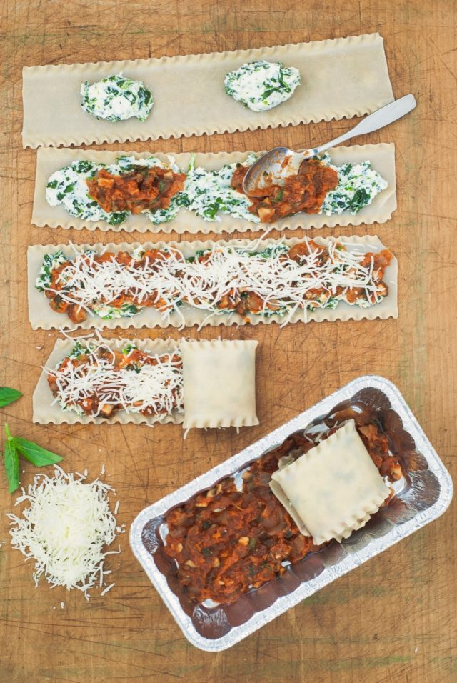 Butternut, Spinach and Mushroom Lasagna Roll-Ups