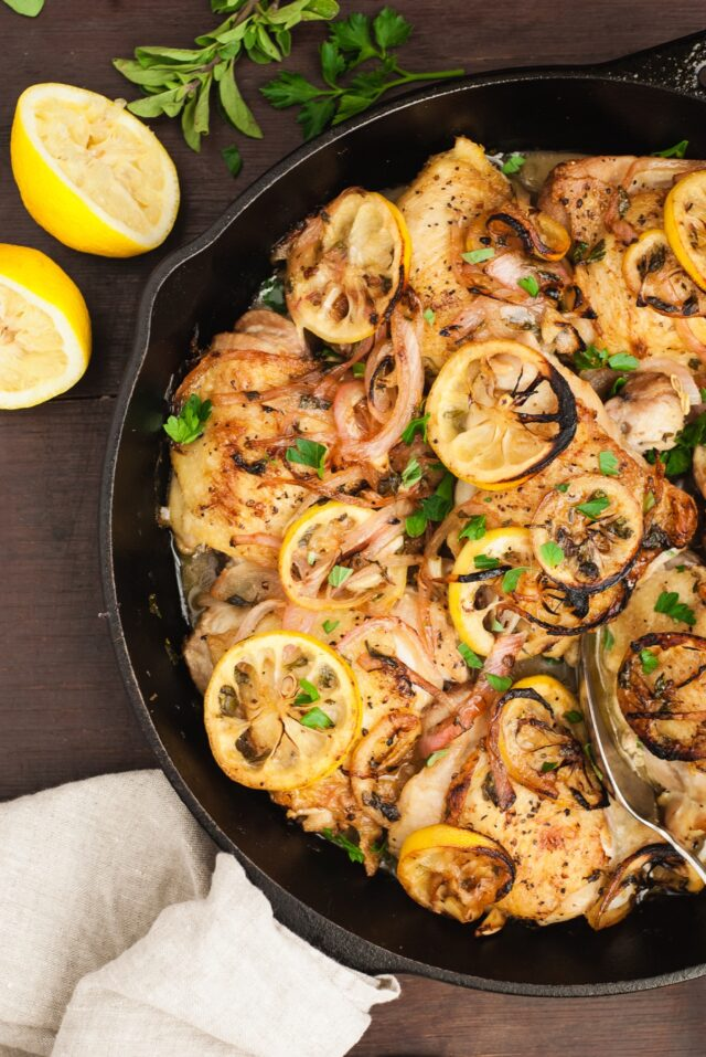 Chicken Thighs With Fresh Oregano and Lemon