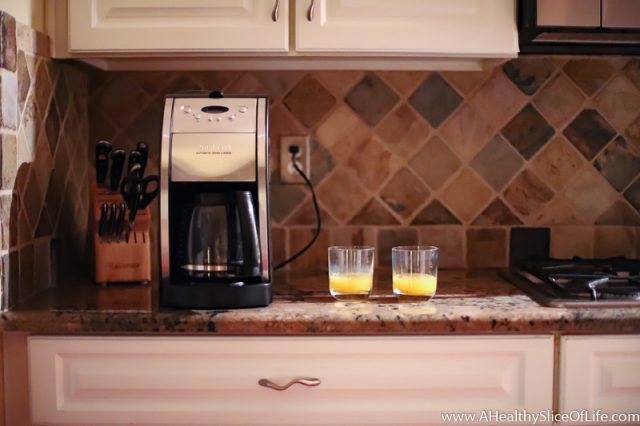 early morning coffee machine