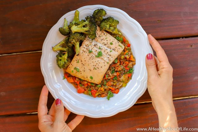 salmon and warm lentils