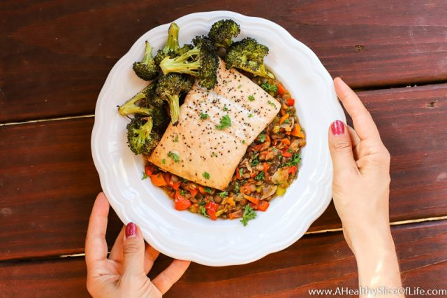 salmon with warm lentils