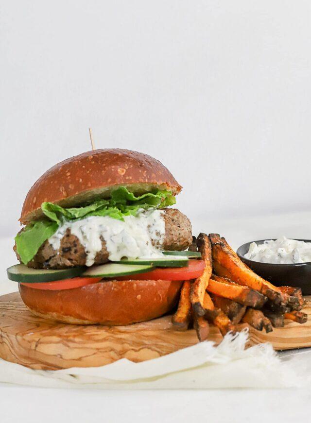 Authentic Greek Ground Lamb Gyro Burger