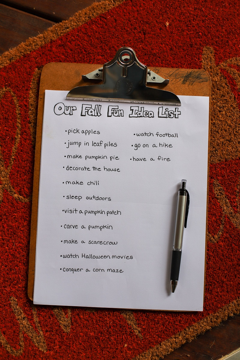 fall fun idea list